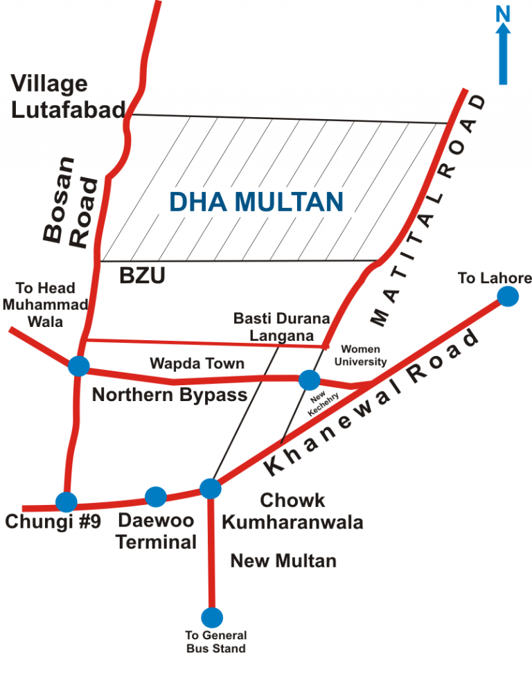 dha multan map and location